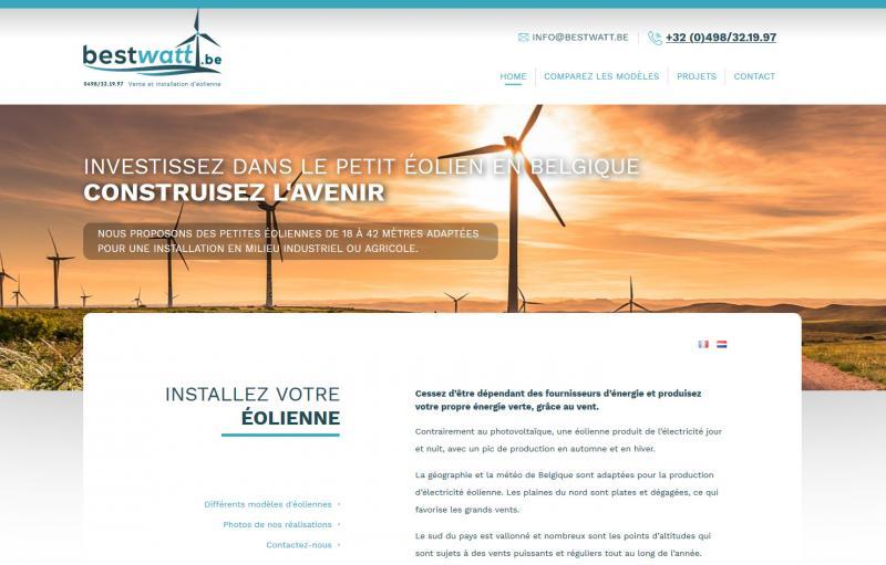 Création d'un site internet vitrine et responsive pour la société Bestwatt Belgique