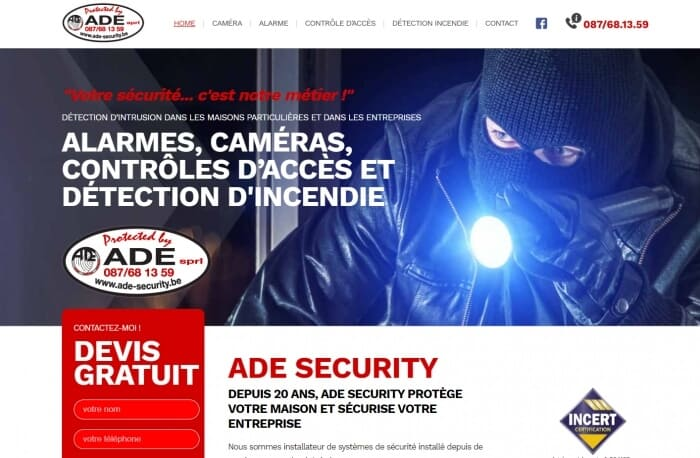 Site internet pour ADE Security